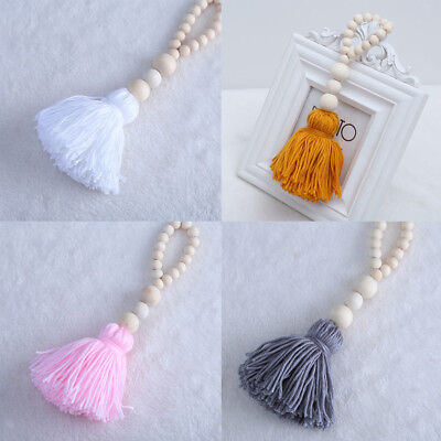 Mosquito Net Tassel Pendants Solid Wood Bead Tassel Decor Pink Gray White Yellow