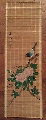 Bamboo Scroll Wall Hanging Birds and Flowers Chinese Art