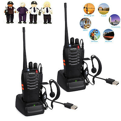 2PCS Baofeng Walkie Talkie 2Way Radio UHF400-470MHZ Long Range 16CH Earpiece NEW