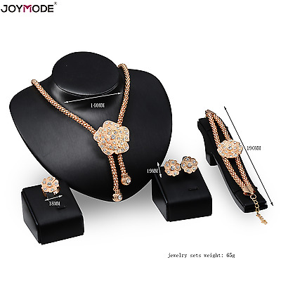 Crystal Necklace Bracelet 18K Gold Plated  Ring Earrings Flower Jewelry Set