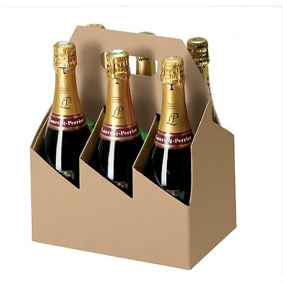 Strong Cardboard Beer Wine Cider Box Bottle Carrier - Holds 6 bottles