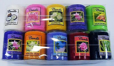 "Thai Nature Flower Scented Aromatherapy Pillar Wax Candle Light Height 2""  New"