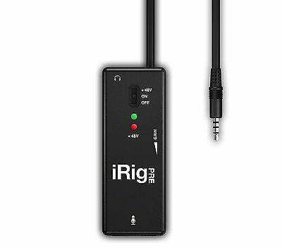 New IK Multimedia iRig Pre XLR Microphone Interface For iPad iPhone & iPod Touch