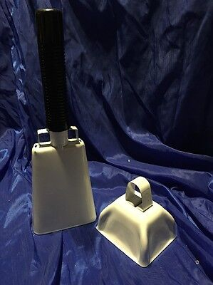 Metal Cow Bells Lot Of 2 White
