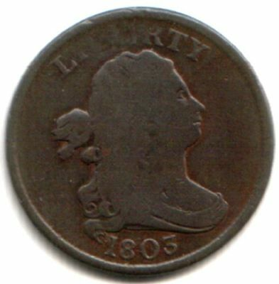 EXTRA NICE COPPER 1803 DRAPED BUST HALF CENT! VG+ FRONT, F-VF BACK Historic Coin