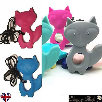 Teething necklace sensory chew autism pendant BPA free silicone baby mum fox UK