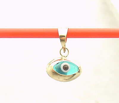 3D Small Oval Ocean Blue Evil Eye Good Luck Charm Pendant Real 14K Yellow Gold