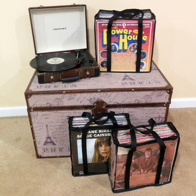 Evelots LP Vinyl Record Carrying Cases Retro Vintage Hold Up To 108 Albums Set/3