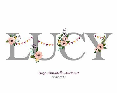 NEW BABY GIRL NAME | Personalised print | GIFT | FREE POSTAGE
