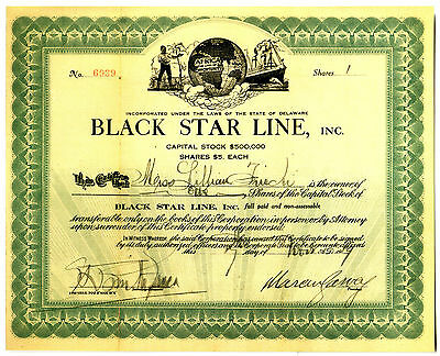 Historic Black Star Line Stock Cert Signed By Marcus Garvey (Reprint) Orig Avail
