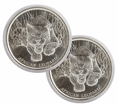 Lot of 2 - 2017 $1 1oz Silver Ghana African Leopard .999 BU (Proof-Like)