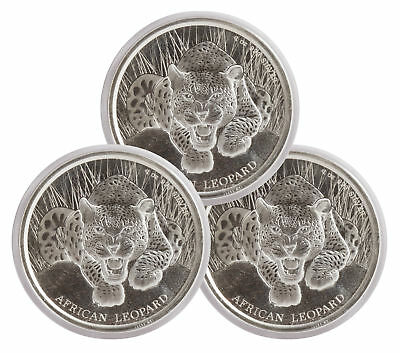 Lot of 3 - 2017 $1 1oz Silver Ghana African Leopard .999 BU (Proof-Like)