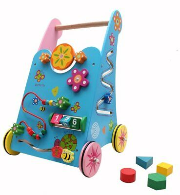 Baby Wooden Walker Activity Push Along Stroller Shape Sorter Toddler Maze Toy