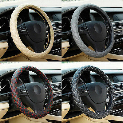 FT- Fashion Breathable Faux Leather Car Steering Wheel Cover Protect Sleeve Eage