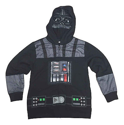 Star Wars Boys Size Small   Black Darth Vader Mask Zip Front Hoodie NEW