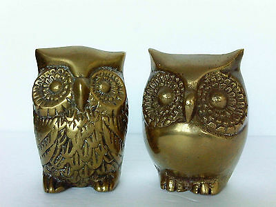 """Lot of 2 Brass Owl Figurines about 3"""" high"""