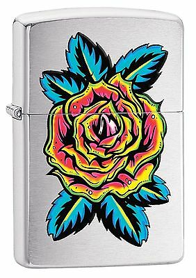 Zippo Windproof Brushed Chrome Lighter With Flower Tattoo, 29399, New In Box