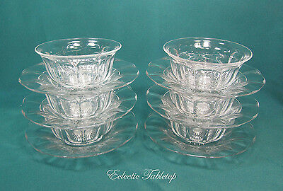 Set of Six HEISEY GLASS Panel Dessert Bowls and Under Plates