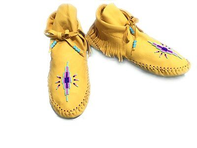 Native American Moccasins Beaded HandmadeSoft Deer Buck Hide Handcut Fringe Uk10