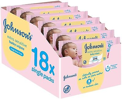 Johnsons Baby Extra Sensitive Fragrance Free Wipes - Pack Of 18, Total 1008