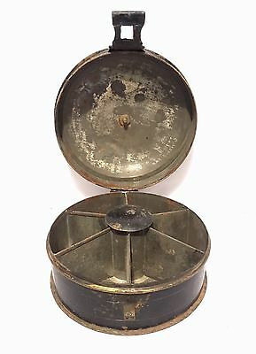 Antique Victorian Toleware Round Metal Spice Tin Box with Nutmeg Grater