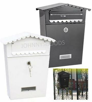 Post Box Lockable Letter Mail Wall Mounted Postbox Letter Box Black 66188C