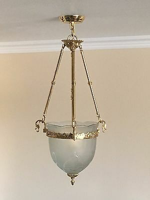 Vtg Gold Art Deco Chandelier LARGE PENDANT Ceiling Fixture w/Glass Etched Shade