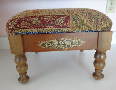 Vintage Small Wooden Foot Stool W/ Tapestry Upholstery W/harvest Decal