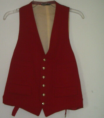 Vintage Men's Red Wool 4 Pocket Vest w/ Gold Lion Buttons  Made in England Sz. M