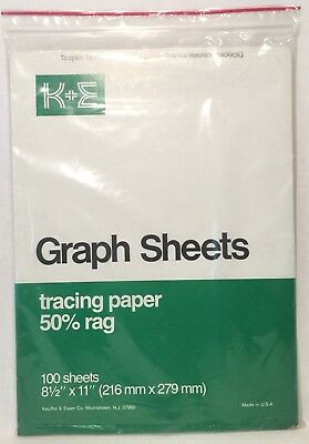 "K&E Graph Sheets Tracing Paper 50% Rag 100 Sheets 8.5"" x 11"" 467522 Made in USA"