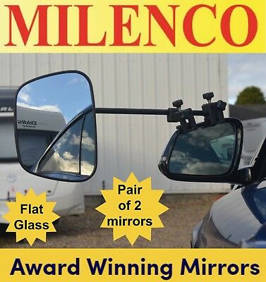2 x Milenco Grand Aero 3 Extra Wide Flat Glass Caravan Towing Mirrors