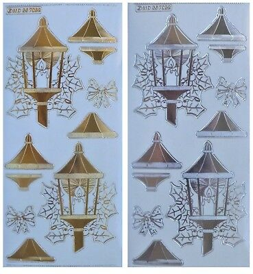 Embossed LARGE CHRISTMAS LAMP Layered Peel Off Stickers Lantern Gold or Silver