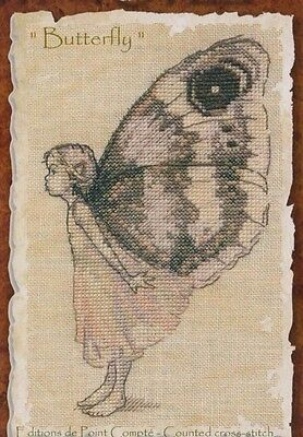 Le Papillon (The Butterfly) - sweet character cross stitch chart - Nimue