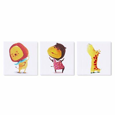 "Zoo Animal Nursery Canvas Set 3 Canvas Pictures Framed NEW 5.9"" x 5.9"""