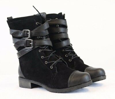 Bamboo Women's Black Combat Boots Buckle Strap Lace Up Low Heel Boots NEW