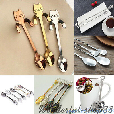 Small Cat Handle Coffee Drink Spoon Tableware Kitchen Hanging Stirrer Muddler