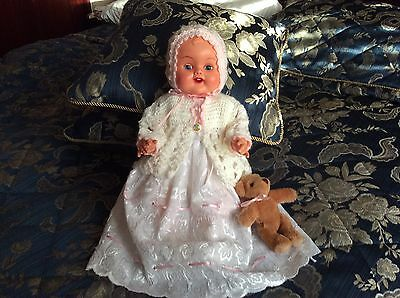Lovely Vintage Kader Baby Doll Hard Plastic 16 Inches Tall In Lovely Outfit.