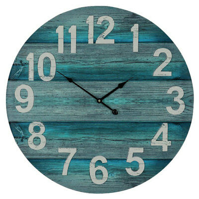 Large Round 58cm Rustic Wooden Teal and Grey Boards Wall Clock