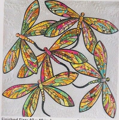 The Modern Dragonfly - raw edge applique wall Quilt PATTERN