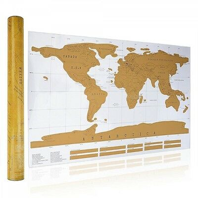 Deluxe Scratch Off World Travel Map Gift - Free Postage