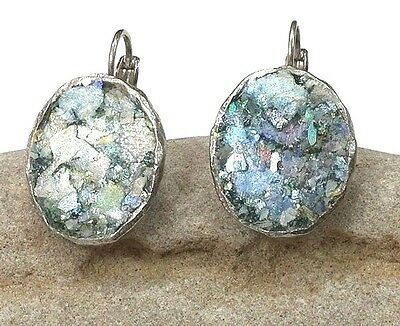 Roman Glass Ancient 200 B.C.Oval Silver P. Earrings Holy Land Archaeological