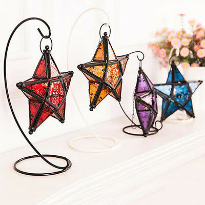 Moroccan Style Hanging Glass Metal Star Candle Holder Lantern Home Deco Surprise