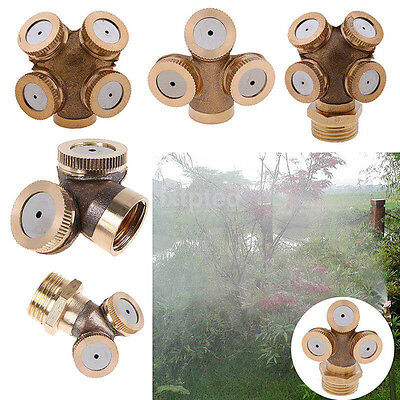 1-4 Hole Gold Brass Hose Pipe Fitting/ Garden Tap Spray Nozzle Mist For Cooling~