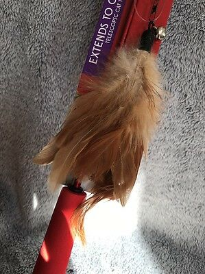 Telescopic Cat Teaser Extends Upto 3 Feet , Cat Toy, Real Feathers Design 2
