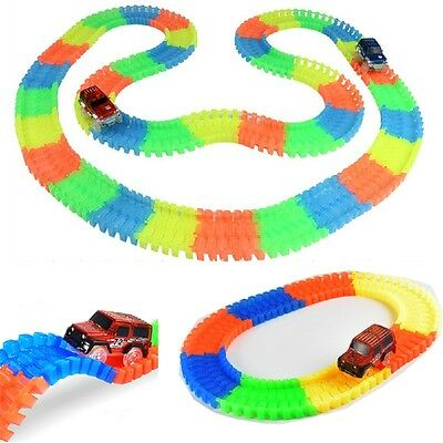 80PCS Magic Track Cars Racing Tracks Set Loop Glow in the Dark Race Track