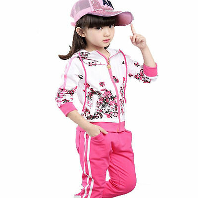 Girls Sports Sets Spring Autumn Girls Jacket Floral Hoodies+Pants 2Pcs Suit