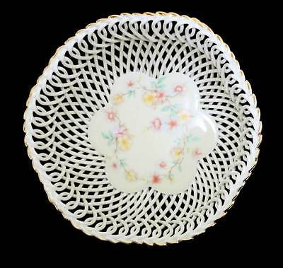 Vintage cream floral lattice intricate china large basket