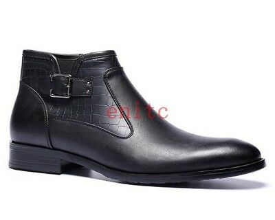 British Pointy Toe Casual Buckle Mens Ankle Chelsea Boot Side Zipper Dress Shoes