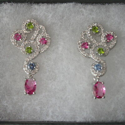 Beautiful 925 Silver Earrings With Pink Tourmaline, Peridot, Violet, CZ In Box