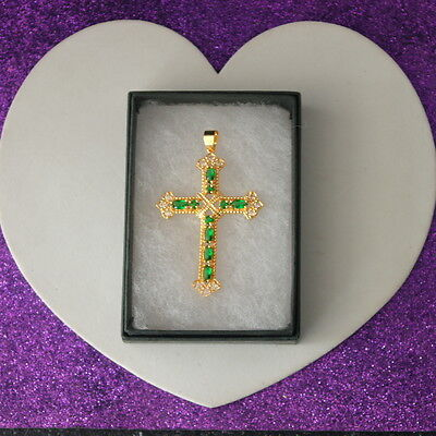 Beautiful Cross Gold Plated Over 925 Silver With Brazilian Emerald And Cz